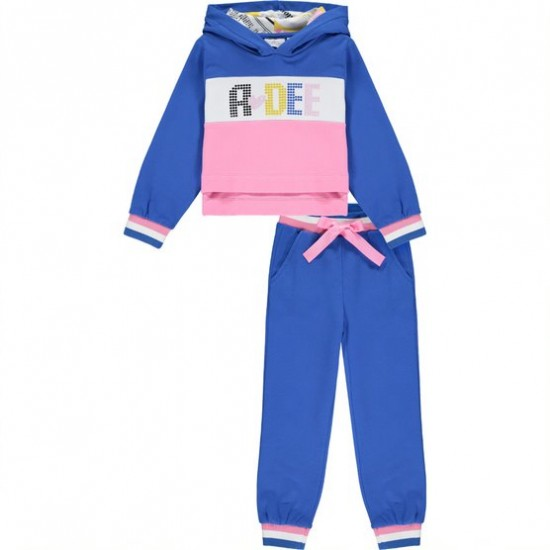 ADee blue cropped hoody tracksuit