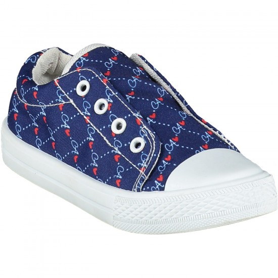 ADee French Navy Printed Canvas Trainer