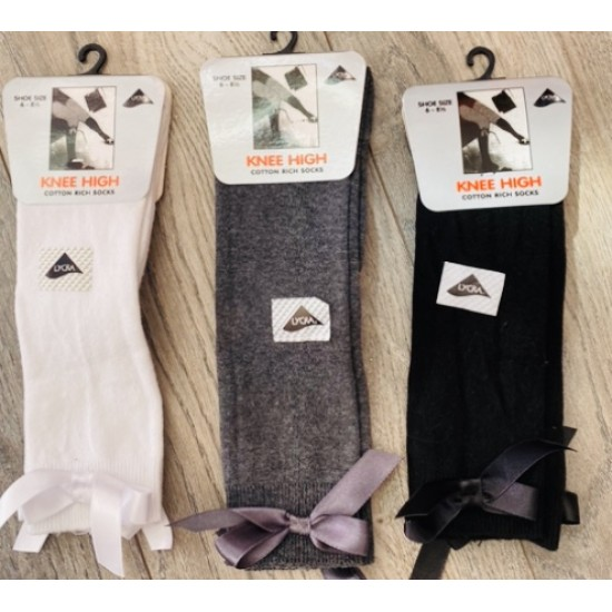 Sox School Socks with Bow in 3 colours Grey/Black/White