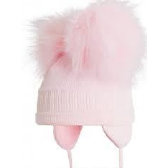 Satila of Sweden Pink Fur Double Pom Pom Hat