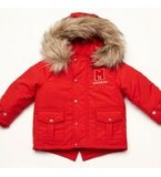 Red Padded Jacket with Fur Hood