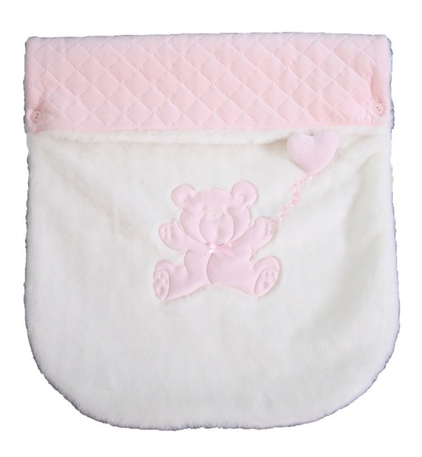 Rosy Fur Pram Cover in Pink and Cream