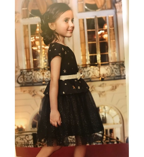 Abel and Lula Black and Gold Star Dress style 5507