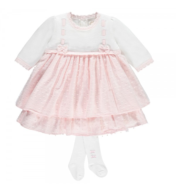 Emile et Rose Pale Pink Dress with Tights 8357
