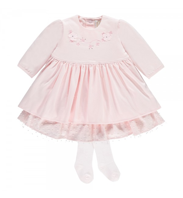 Emile et Rose Pale Pink Dress with Tights 8358