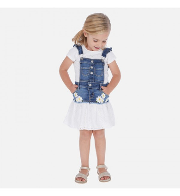 Mayoral Denim and White Embroidery Pinafore