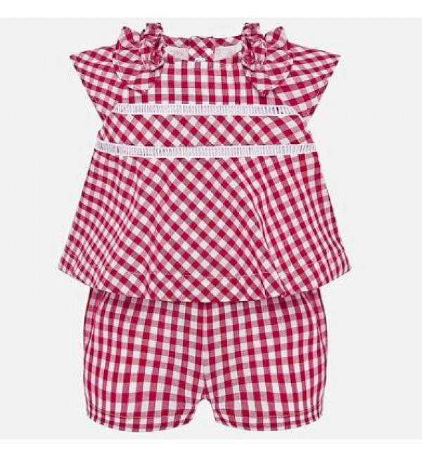 Mayoral check playsuit 1895 red