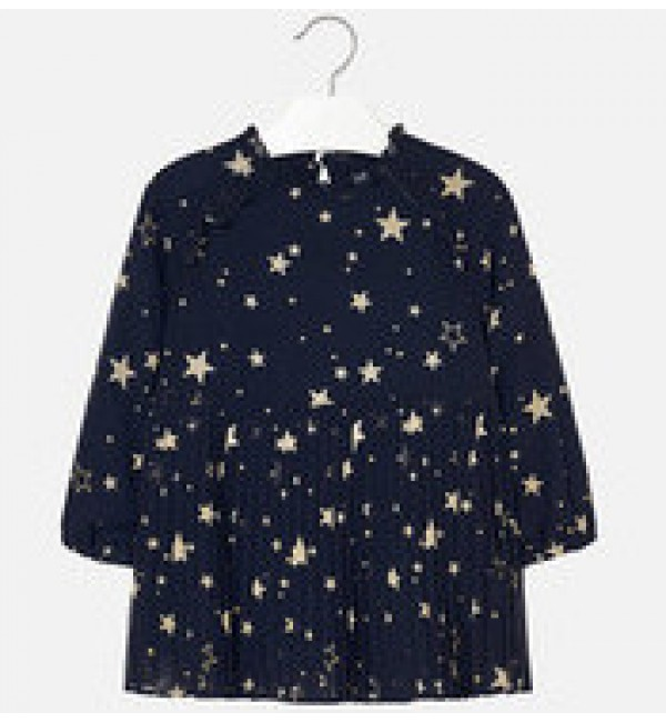 Mayoral Navy and Gold Star Print Dress 4966