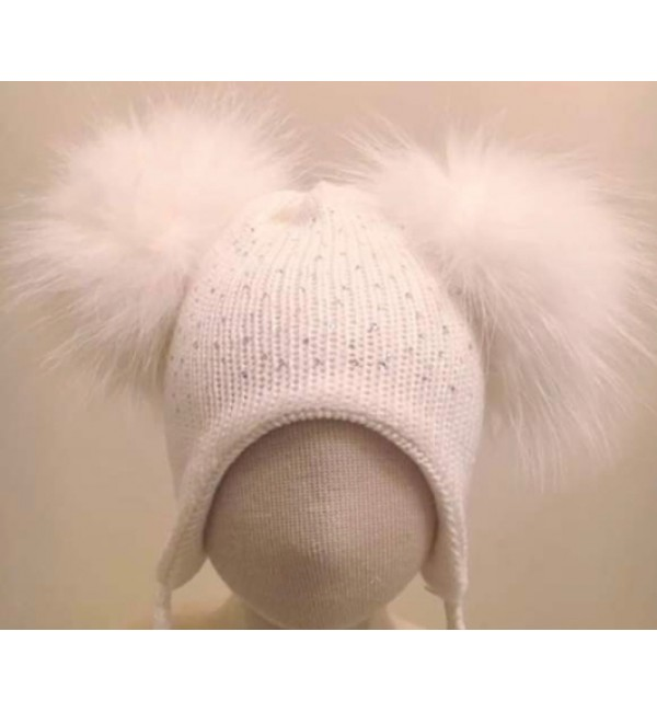 Pom Pom Envy White Diamante Double Pom Hat