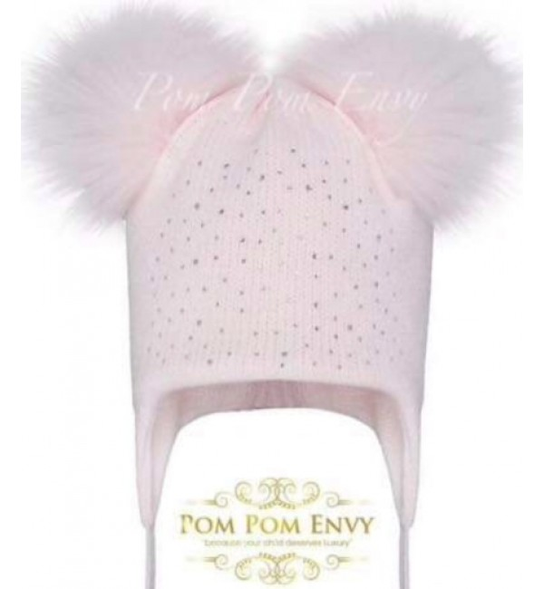 Pom Pom Envy Pale Pink Diamante Hat