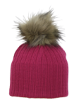 Nora Cerise Hat with contrast fur pompom