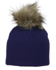 Nora Navy Hat with contrast fur pompom