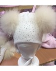 Pom Envy Hat Pink and White
