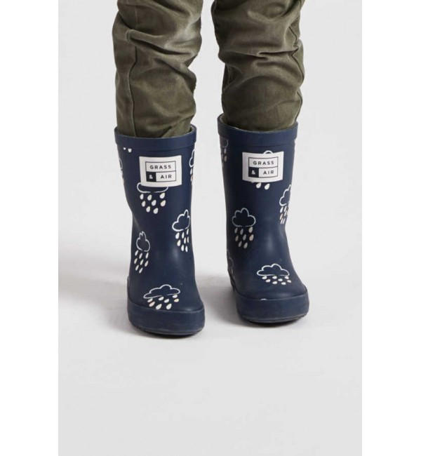 Grass and Air Navy Little Wellie Boot GA300